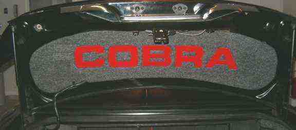 "Click On Picture to Enlarge . 1999-2004 Ford Mustang Cobra. Sunk Plexi Painted Torch Red ""COBRA"" Letters."